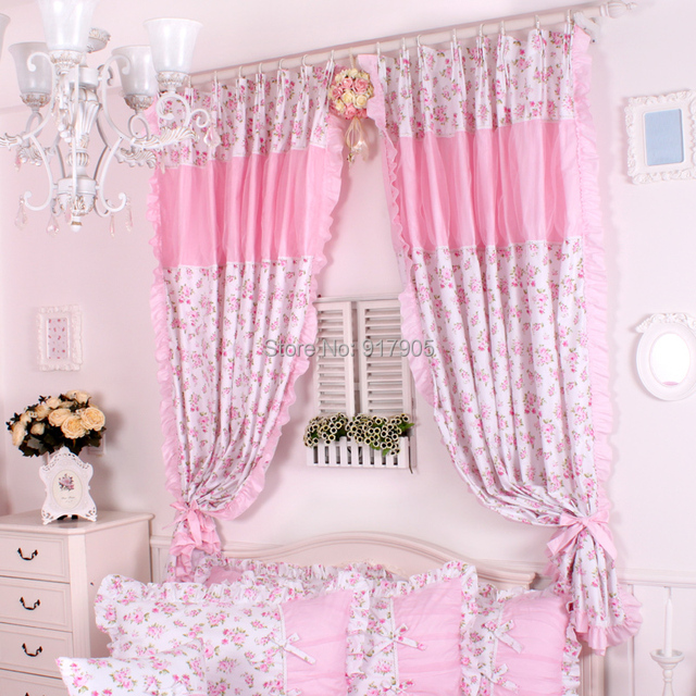 Princess Red Rose Ruffle Window Treatment For Bedroom, Pink Lace ...