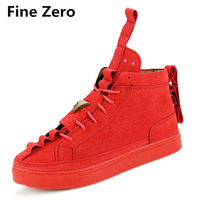 Fine Zero Male Winter Triangle Suede British Style Casual Shoes Men High Tops Fashion Hip Hops