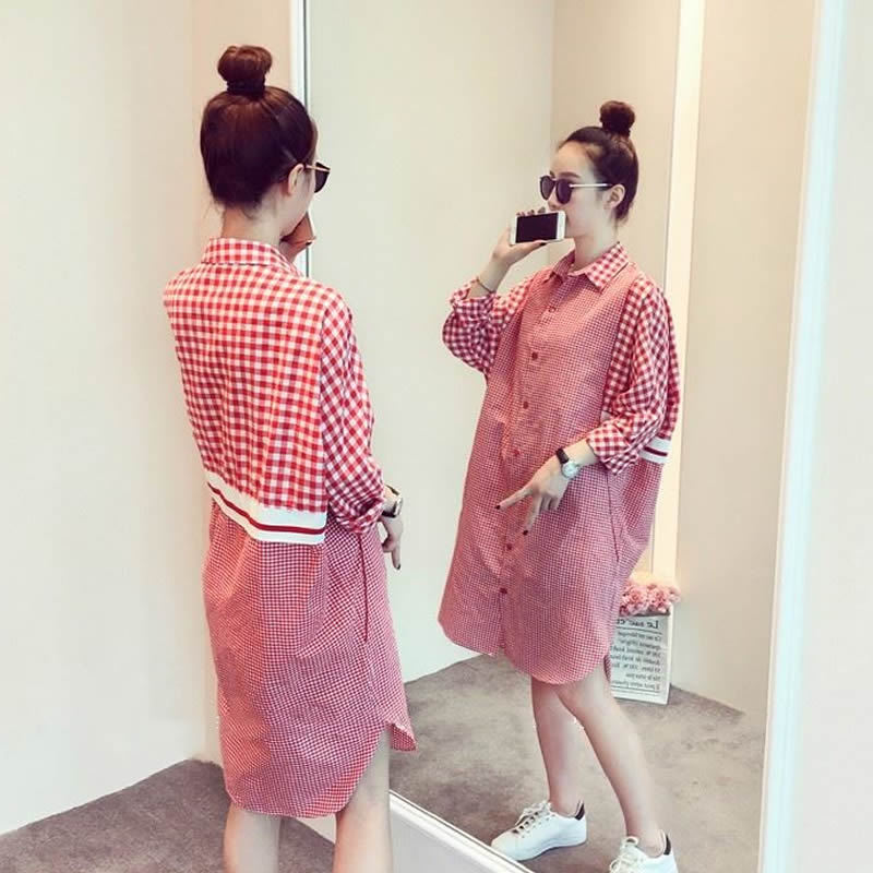 Maternity spring clothes 2018 new 200 pounds summer large size jacket tide mother loose shirt long dress