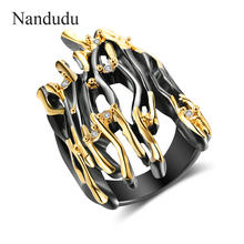 Nandudu Black Gun Yellow Gold Double Color Punk Ring Branch Design Half Finger Ring Hyperbole Big Rings Jewelry Gift R2008