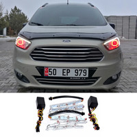 2Pcs Lot White Yellow Flexible Daytime Lamp Switchback Strip DRL For Ford Mustang Focus 2 3