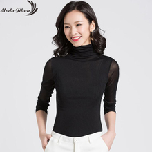 Moda Jihan Women's Mesh Bottoming Shirts Stretchable High Collar Underneath Tops Autumn Winter Female Clothing Sexy Plus Size