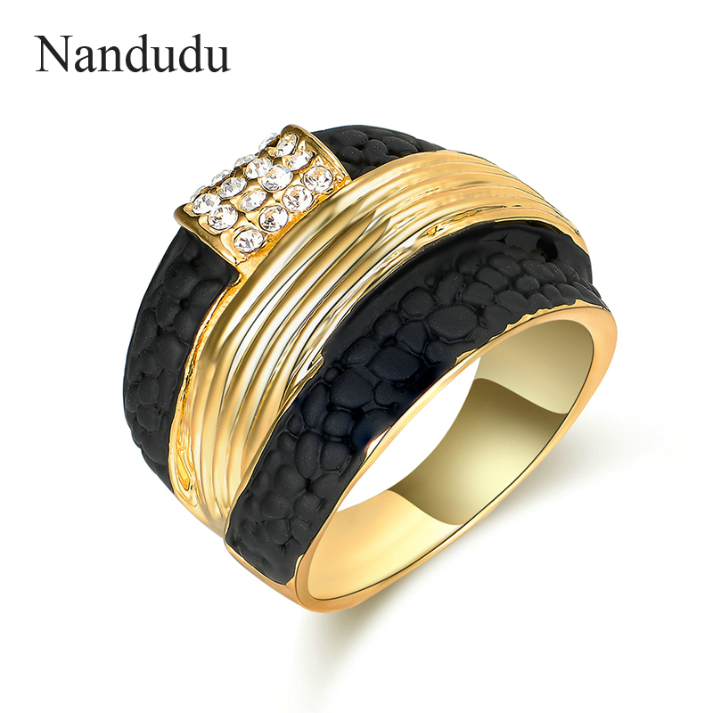 Nandudu Gold Color with Black Stone Clear Crystal Rings Jewelry Gift fo