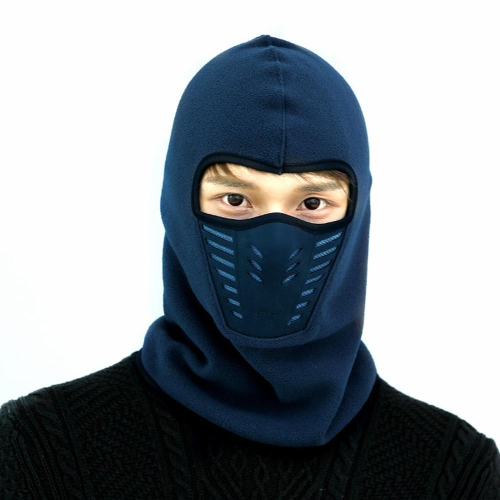 Модные Повседневные Удобные ветрозащитные шапки для туризма для лыж велосипеда мотоцикла шляпа мужской зимний теплый маска шляпа унисекс шеи теплый шлем шляпа - Цвет: navy blue