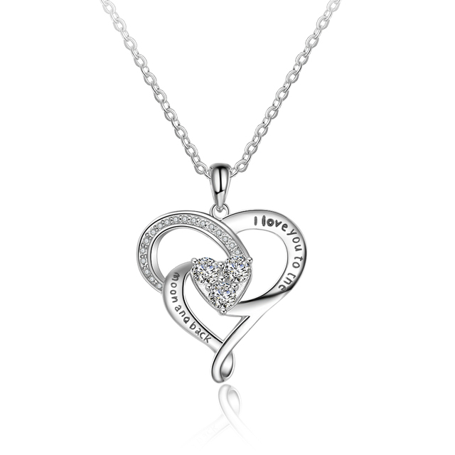 "brixini.com - ""I love you to the moon and back"" 925 Sterling Silver Heart Necklace"