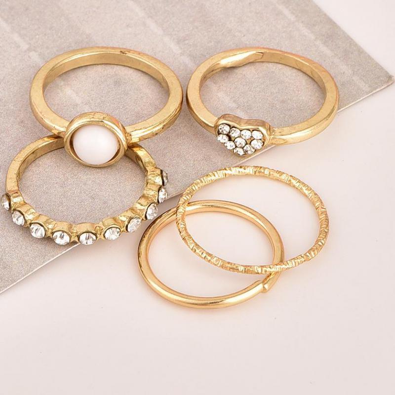 5 Teile/satz Mode Gold Farbe Knuckle Ringe Set Für Frauen Böhmischen Midi Finger Charme Ringe Kristall Schmuck Herz Anillos Mujer
