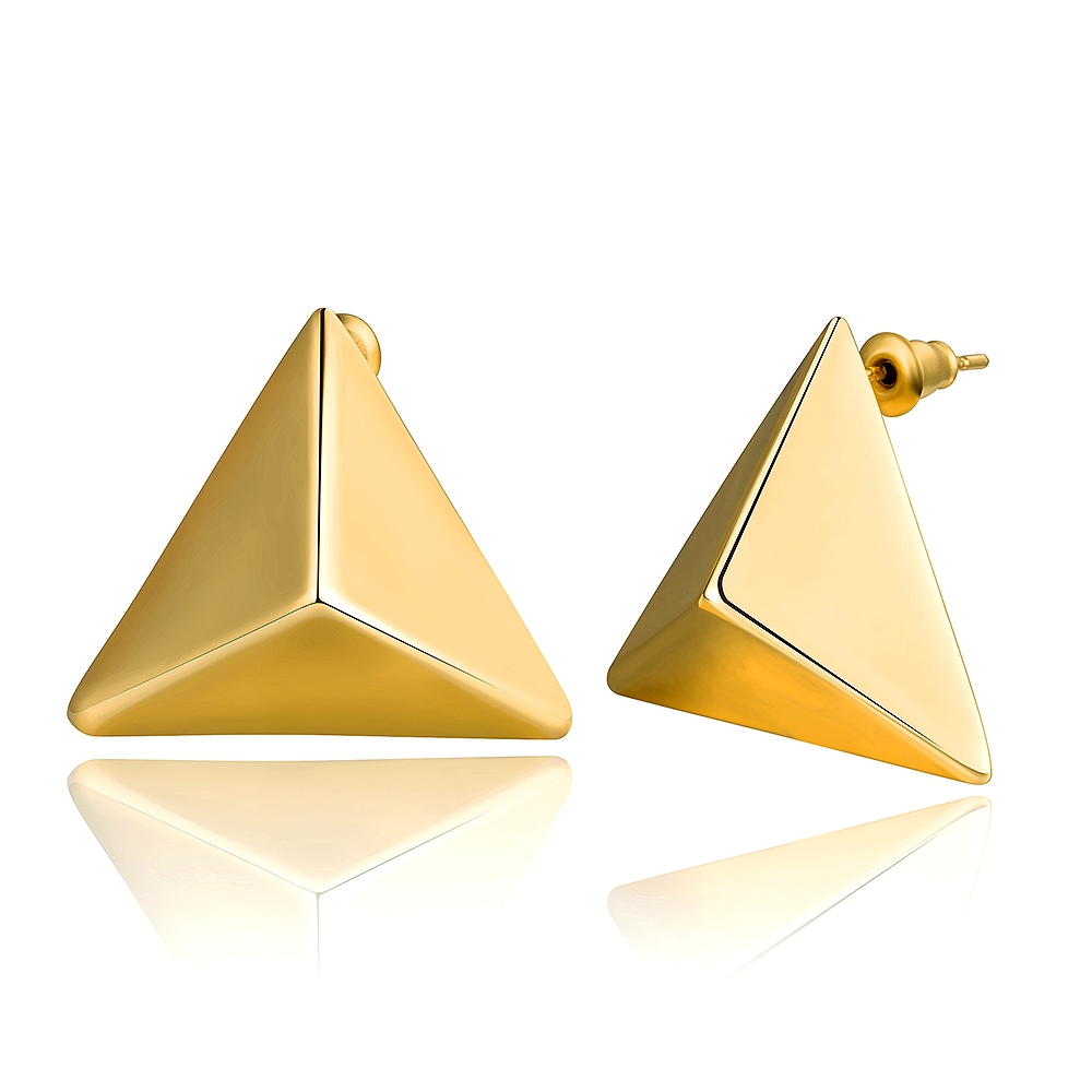 Jewels Gold Color Elegant Personality Triangle Big Earrings Studs Fashion  Stainless Steel Earring Jewelry For Women