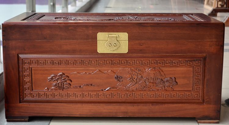 Camphor wood furniture landscape painting hand carved camphorwood box wood box storage box suitcase fur marriage