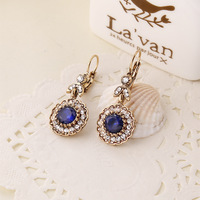 Starburst Look Silver Tone Blue Crystal Round Dangle Earrings Long Prong Work Daisy Flower Drop Designer