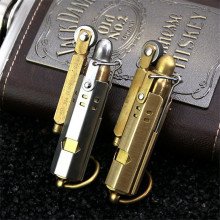 New Retro Gasoline Lighter Trenches Pure Copper Cigarette Petrol Windproof Flint Lighter Free Fire Inflated No Kerosene