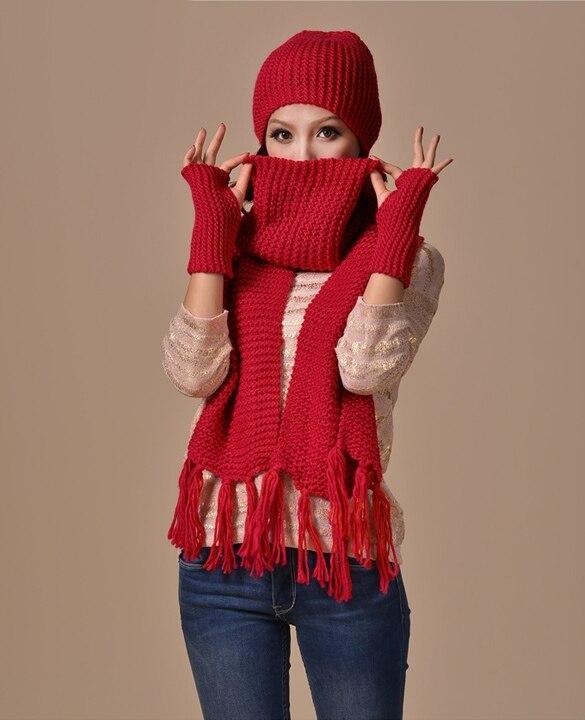2015 Neue Mode Strickmütze Hut Schal Handschuhe Set Wiomen Winter Schals 3 Stücke Set Frauen Beanies Gorros
