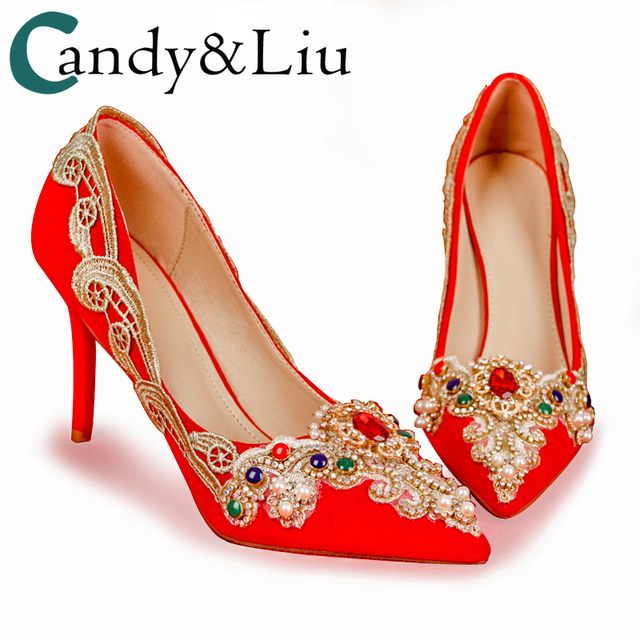 3a996ed9e26 Wedding Shoes Chinese National Red Retro Luxury Style Gold Lace Gemstone  Asia Bride Heels 5cm 7cm 11cm Pointed Sexy Woman Pumps