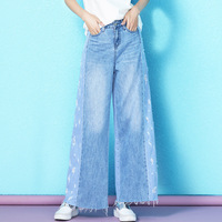 Nordic winds 2019 women's fashion personality hole jeans women loose ankle length wide leg jeans summer female NW19B6189