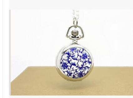 Enamel Trumpet Quartz Pocket Watch For Men And Women Students Chinese Retro Wind Tourbillon Table Of Blue And White Porcelain