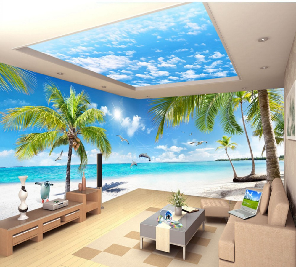Free Shipping Custom 3d Wallpaper HD 10 Meter Coconut Tree Landscape Huge Living Room TV Background Wall Beach Vacation Mural seaside coconut tree print wall hanging tapestry