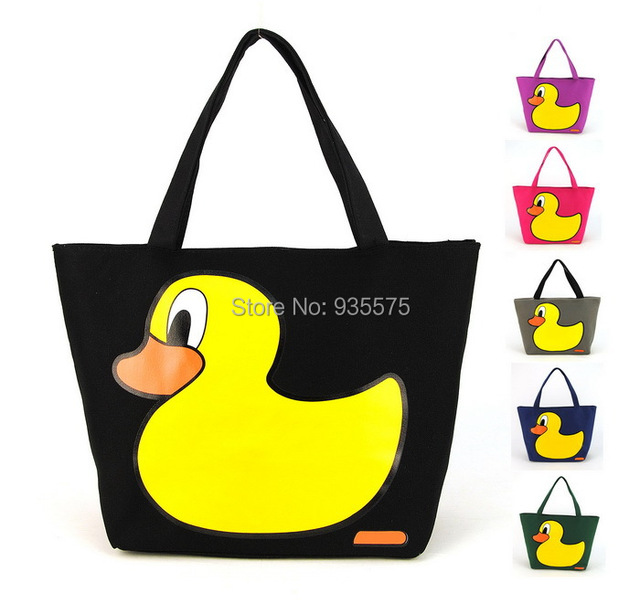 Women Canvas Cute Yellow Duck Tote Shoulder Shopper Cabas Zip Shopping Bag  Purse Handbag Casual Satchel 1b51729b2d