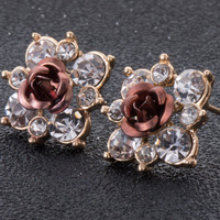 1pair/lot,Fashion Silver Crystal Flower Stud Earrings,Brincos Perle Pendientes Bou Earrings For Woman Gift e0155