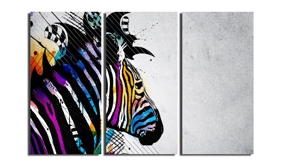3 Panels Canvas Colour Zebra Print Painting for Living Room Wall Art ...