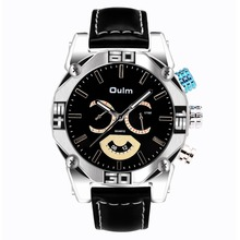 Oulm Brand 3694 Mens Big Face Watches Leather Band Casual Quartz Watch Atmospheric Dial Luxury Watches