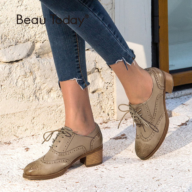 BeauToday Oxfords Women Pumps Top Brand Genuine Leather Sheepskin Wingtip Round Toe Lace-up Brogues Shoes Handmade 15114
