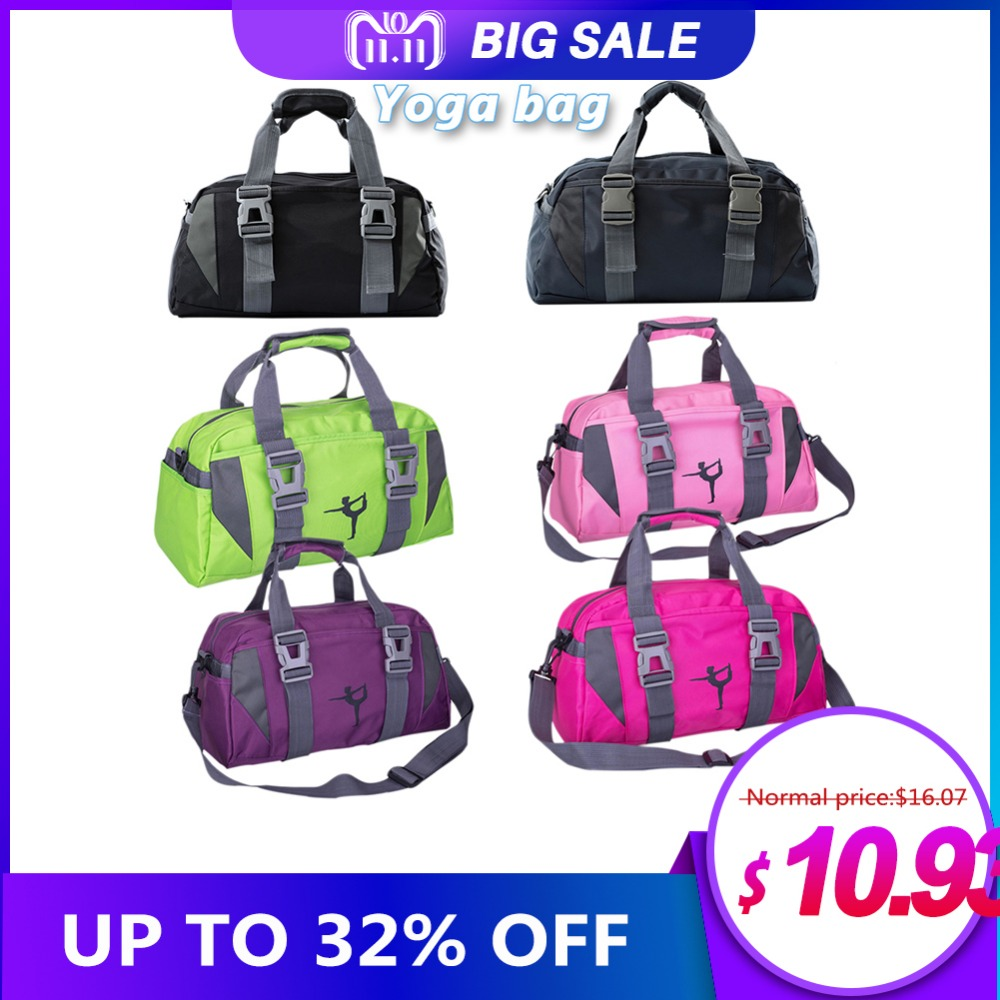 Yoga Fitness Bag Waterproof Nylon Training Shoulder Crossbody Sport Bag For Women Fitness Travel Duffel Clothes Gym Bags multifunction canvas sport bag training gym bag waterproof sports gym bag backpack for women fitness yoga travel luggage bags