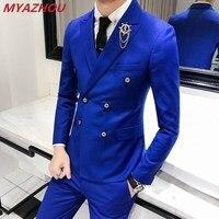 Роскошный Королевский мужской костюм, 3 комплекта, модный бутиковый двубортный однотонный костюм для свадьбы, новый Тонкий деловой банкетн...