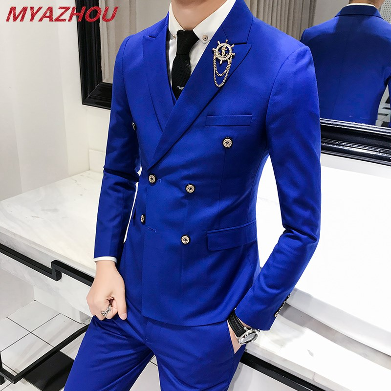 Luxury Royal Men's Suit 3 Sets Fashion Boutique Double-breasted Solid Color Wedding Dress New Slim Business Banquet Formal Dress