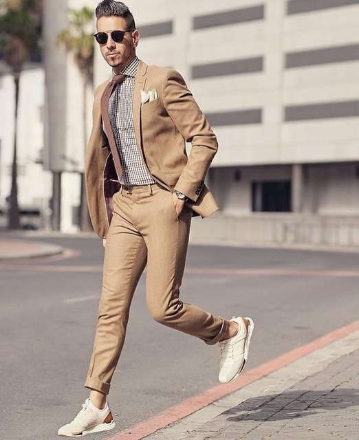 Latest Coat Pant Designs Brown Classic Men Suit For Smart Casual Business Street Prom Summer Blazer Tailor Made Jacket+Pants