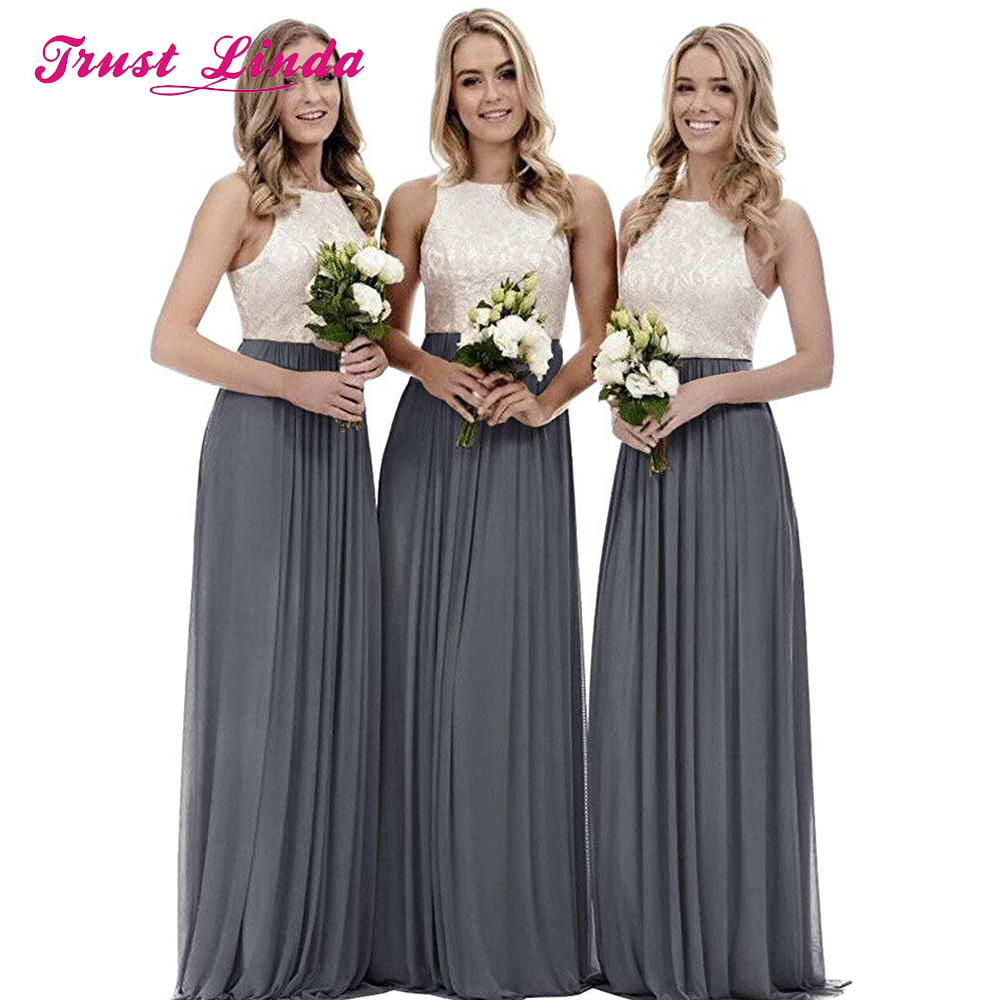 Sexy Bridesmaid Dress Lace Tops A-line Chiffon Prom Gown For Wedding Party Custom Made