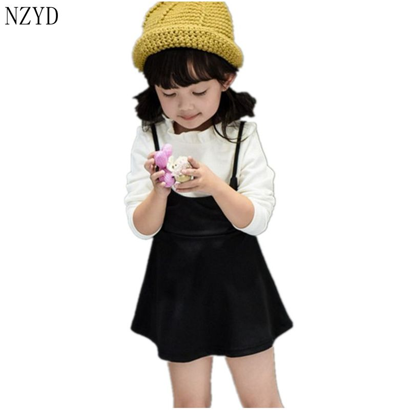 2016 New Fashion Spring Autumn Girls Dress Children Lovely Long-Sleeved Princess Dress Korean Sweet Leisure Kids Clothes DC093 children s spring cotton long sleeved korean children princess girls dress kids clothing