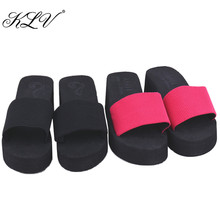 8ecc4db11ff38f KLV Brand 2017 Hot Selling Summer Soft Wedge Sandals Thong Flip Flops Flat  Platform Slippers Beach for Women