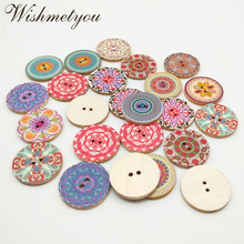 WISHMETYOU 50pcs 25mm Vintage Flowers Wooden Buttons For Diy Scrapbooking Colorful Sewing Handmade Clothes Accessories