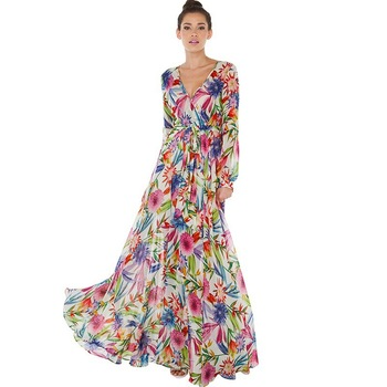 Sexy Women Boho Evening Party Dress Long Sleeve Summer Beach Dresses Long Maxi Elegant Floral Chiffon Dress floral chiffon dress long sleeve