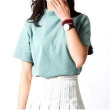 f1f5b0b0b4 New Fashion 2018 Summer Korean Style All-match Solid Turtleneck Short  Sleeve Women T-shirt Female Shirt Fresh Color Women Tops