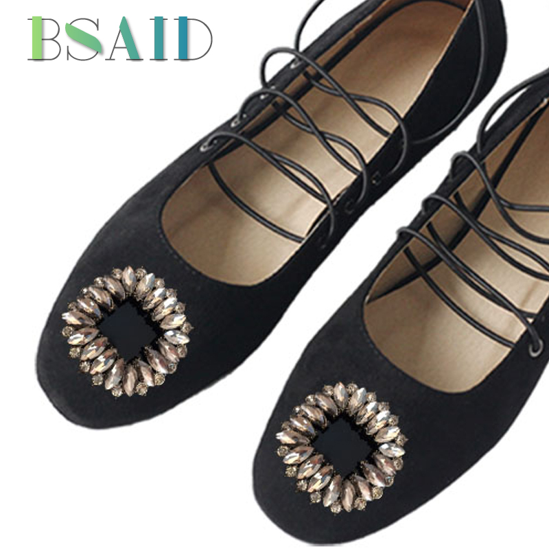 BSAID 1Pair Square Crystal Shoe Decorations For Women Shoes Charming Shoe Accessories Retro Rhinestone Charms Shoe Buckle Clips charming red rhinestone alloy ring for women