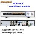 4 H 960 canais CCTV DVR H.264 RS485 Casa de Segurança Gravador de Vídeo Digital Com Detecção De Movimento PTZ HDMI Suporte iphone Android