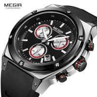 MEGIR Sports Chronograph Quartz Wrist Watches for Men Silicone Waterproof Clock Relojios Luminous Relojes Montres 2073GS-BK-1