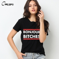 2015 New Fashion Summer Style Women T Shirt Bonjour Bitches Letter Print O Neck Short Sleeve