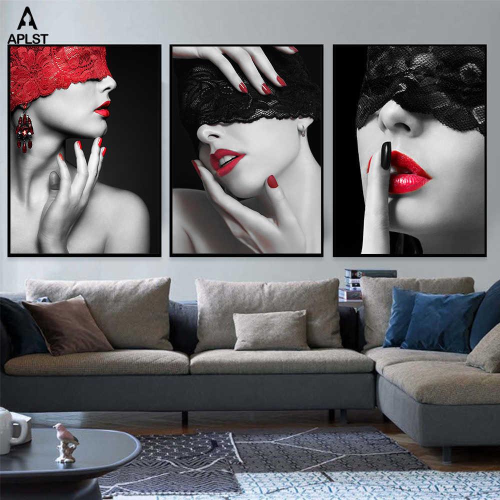 Seksowne czerwone usta koronkowa maska nagie obrazy kobiet na płótnie drukuje czarno-białe nagie kobiety plakat na nadrukiem dekoracja sypialni ściany