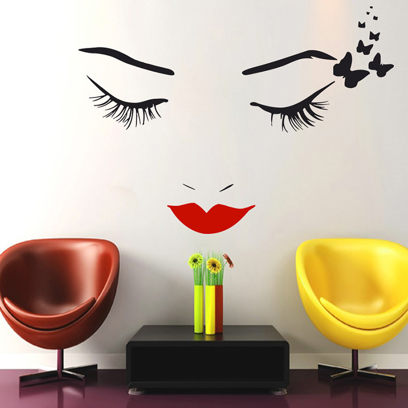 YOYOYU Lips Eyes Vinyl Wall Sticker Beauty Girl Makeup Butterfly Removeable Decal Living room Salon Decoration Poster ZX314 in Wall Stickers from Home Garden