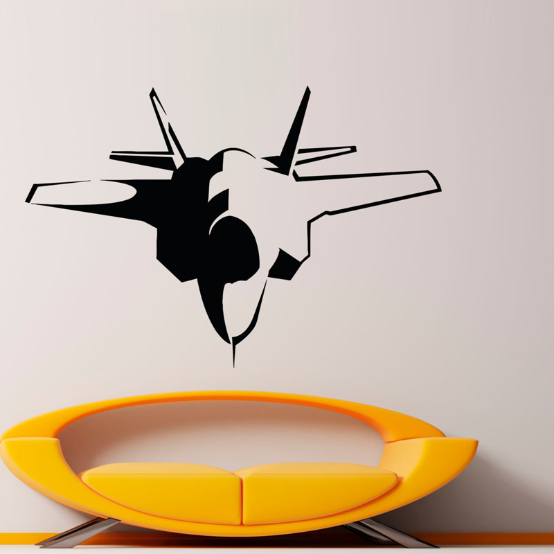 Jet Airplane Baby Room Wall Sticker For Home Decor PVC Removable Simple Design Aircraft Wall Decals