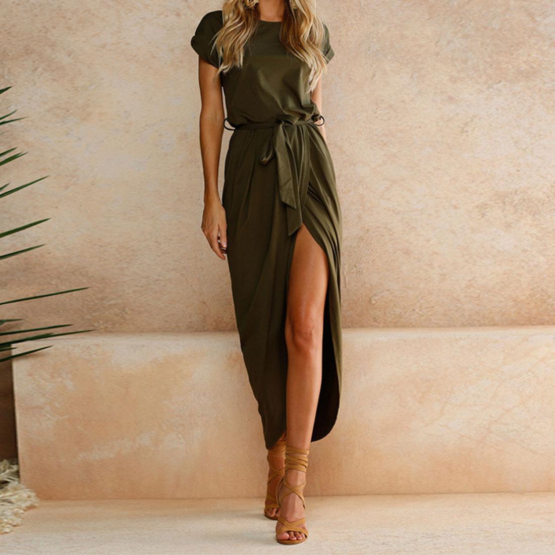 Charming Woman Tunic Irregular Bage Party Dress Short Sleeve Crew Neck Cotton Straight High Split Maxi Dress