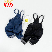 2017 New Baby Boy Girl Overalls Blue Black Overall Pants Casual Loose Denim Pants Jeans KT172