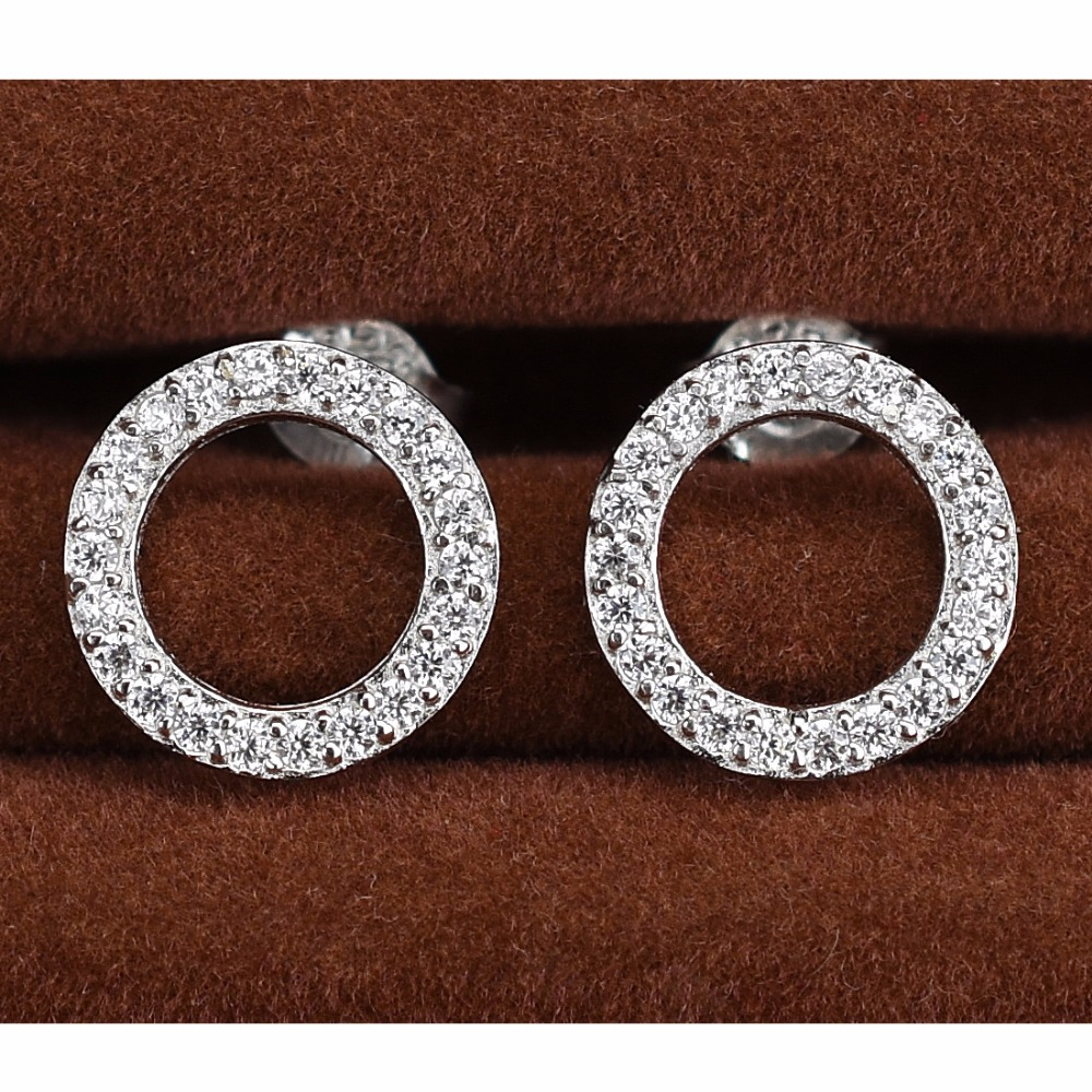 Elensan 925 Sterling Silver Circle Crystal Stud Earrings Hypoallergenic Earring for Women pegkun