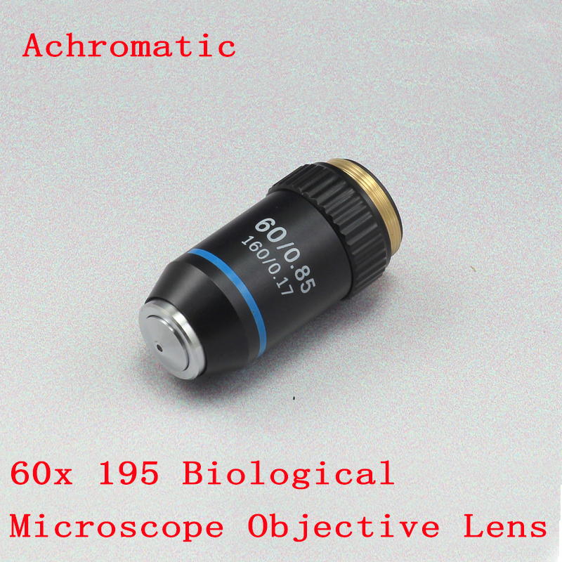 60x Achromatic Professional Biological Microscope Objective Lens Conjugate Distance 195 Working Distance 0.46mm 1PC