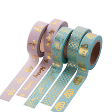 1PCS New Arrival Colorful Floral Foil Washi Tape Hand Tear Decorative DIY Paper Single Sided Adheisve Craft