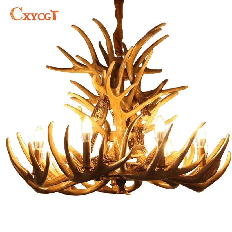 brown antlers resin chandelier lamp modern led antler chandelier lustre chandeliers e14 vintage lights novelty lighting - Antler Chandelier