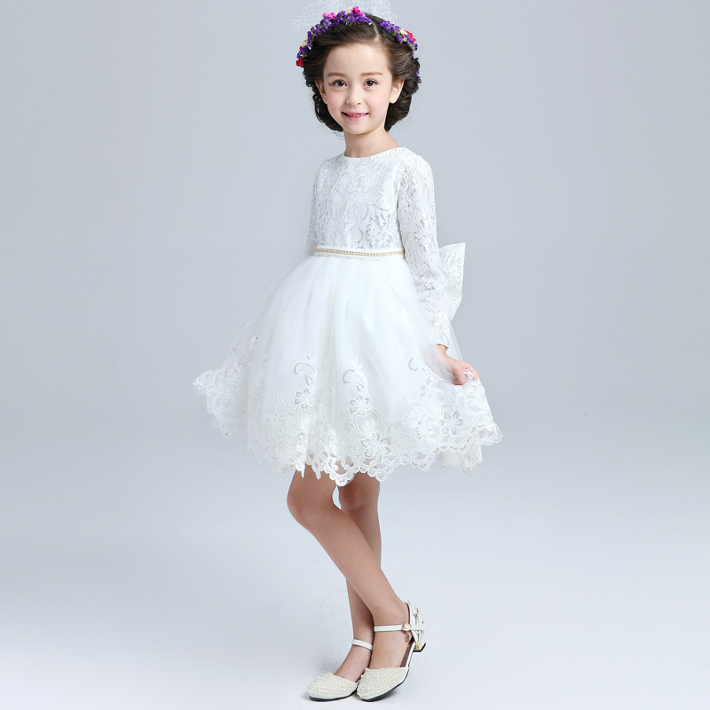 flower girl dresses white princess wedding dresses long sleeve lace dresses