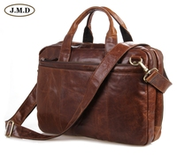 7092 2B JMD New Genuine Cow Oil Waxy Leather Men S Briefcases Hand Business Laptop Bag