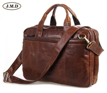 цена на 7092-2B JMD New Genuine Cow Oil Waxy Leather Men's Briefcases Hand Business Laptop Bag Free Shipping